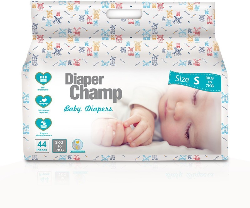 Diaper Champ Small Size (3 to 7 kg) Chlorine, Parabens & Latex Free Ultra Soft Baby Diapers (44 Count) - S(44 Pieces)