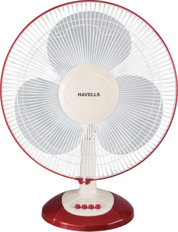 Havells SAMEERA 3 Blade Table Fan(WHITE & RED)