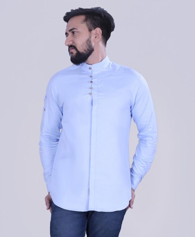 VERO LIE Men Solid Casual Light Blue Shirt