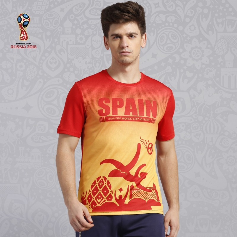 FIFA Spain Printed Men Round Neck Red, Yellow T-Shirt