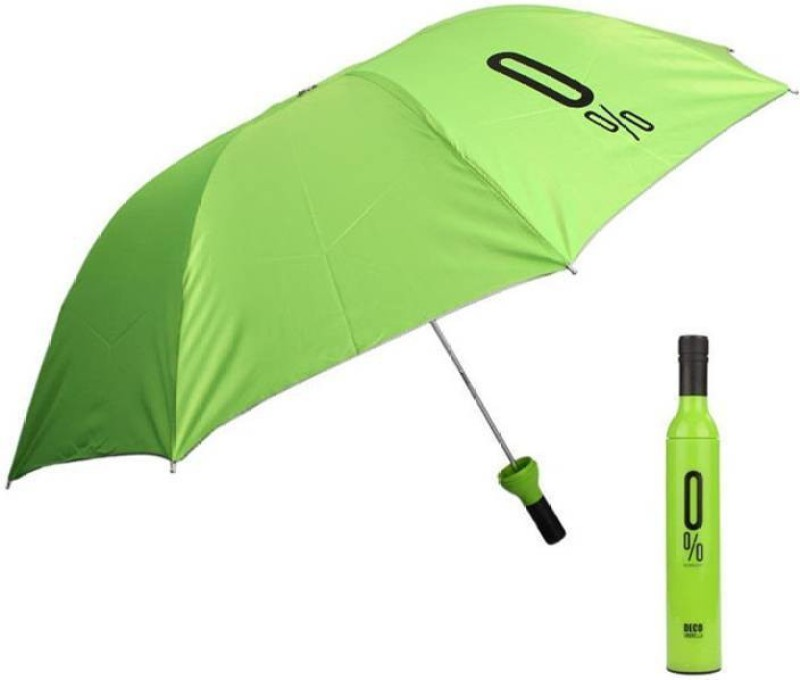 Zeom  Automatic Foldable Travel Wine Bottle Umbrella (UV PROOF WINDPROOF) (Green) Umbrella(Green)
