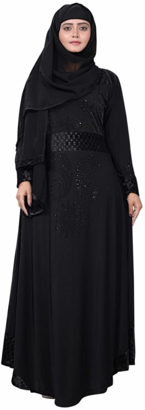 Reya Abaya_15 Lycra Self Design Abaya With Hijab(Black)