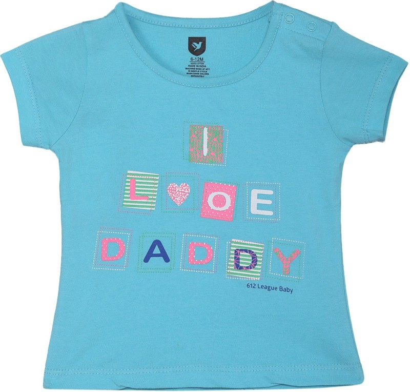 612 League Baby Girls Casual Cotton Top(Blue, Pack of 1)
