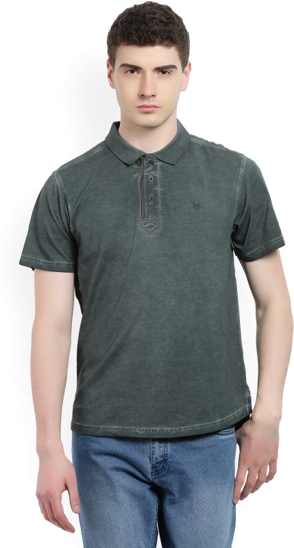 Wrangler Solid Men Polo Neck Grey T-Shirt
