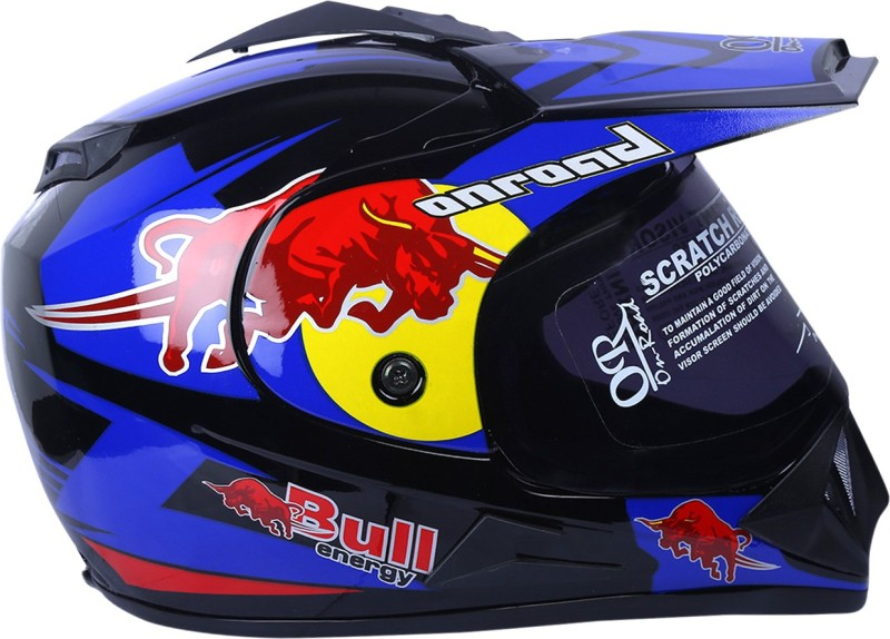AUTOVHPR O2 On Road Red Bull ISI Certified Dashing Trending Designer and Stylish Blue with Red Graphics Helmet with a Chrome Key Chain and a Pollution Mask Motorbike Helmet(Red, Blue, Yellow)