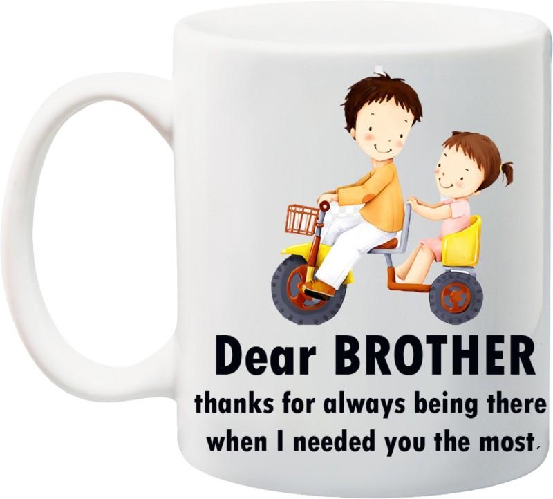 Stylotrendz Return Gift for Raksha Bandhan Rakhi Gifts special BROTHER quotes THANKS Ceramic Mug(325 ml)