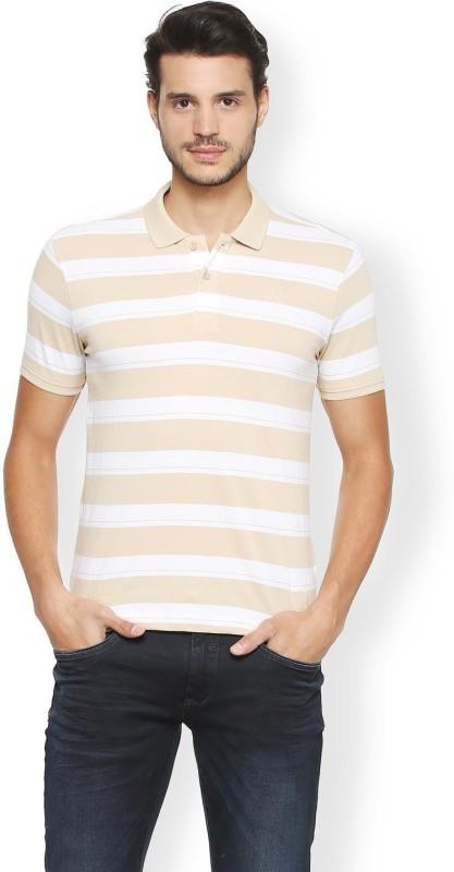 Van Heusen Striped Men Polo Neck Beige T-Shirt