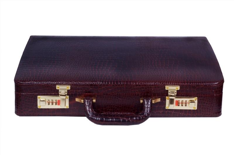 ZINT GENUINE LEATHER CROCODILE PRINT VINTAGE STYLE MEN HARD BRIEFCASE Medium Briefcase - For Men(Brown)