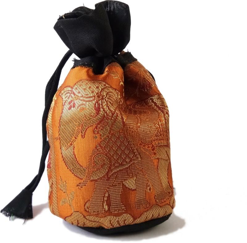 37thirtyseven ThirtySeven Zari work Silk Potli Bag for womens (Orange) Potli(Orange)