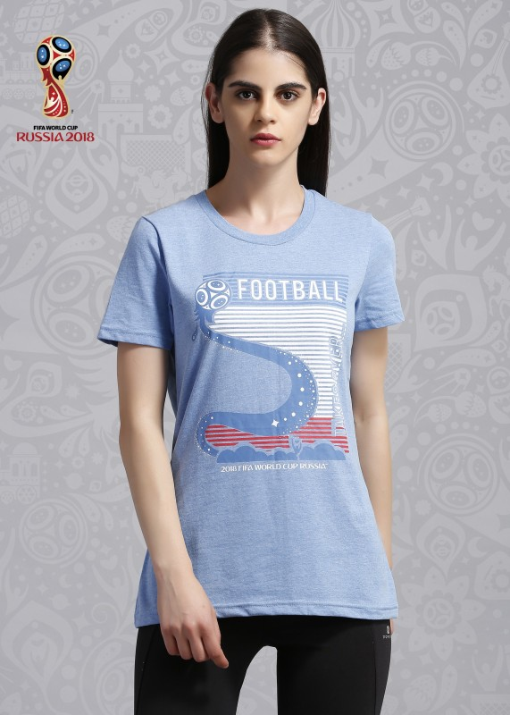 FIFA Graphic Print Women's Round Neck Blue T-Shirt