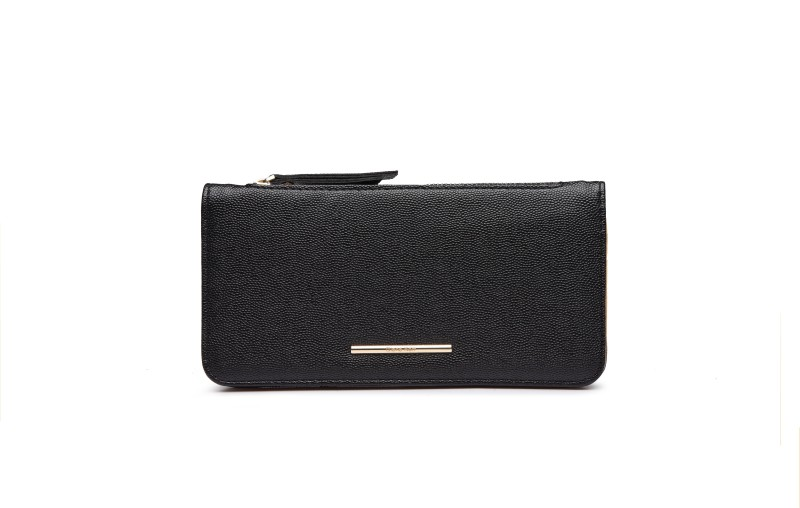 Diana Korr Women Black Artificial Leather Wallet(5 Card Slots)