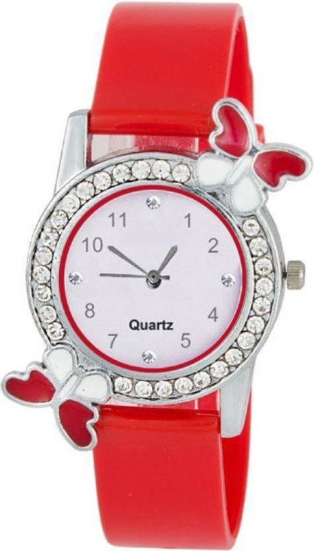 simone RED diamond studded attractive butterfly stylish BUTTERFL Watch - For Girls
