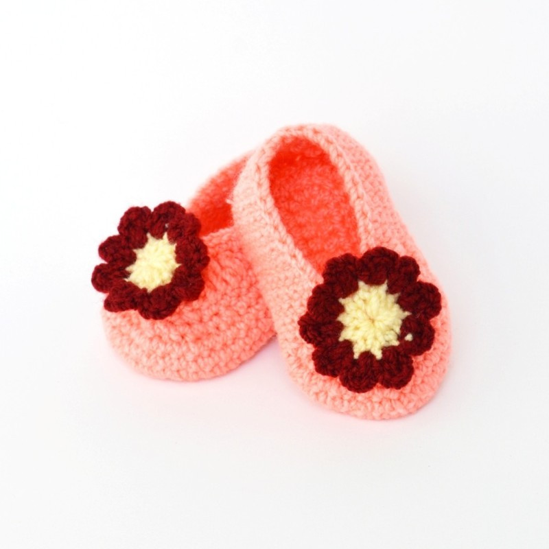 Love Crochet Art Booties(Toe to Heel Length - 10 cm, Peach)
