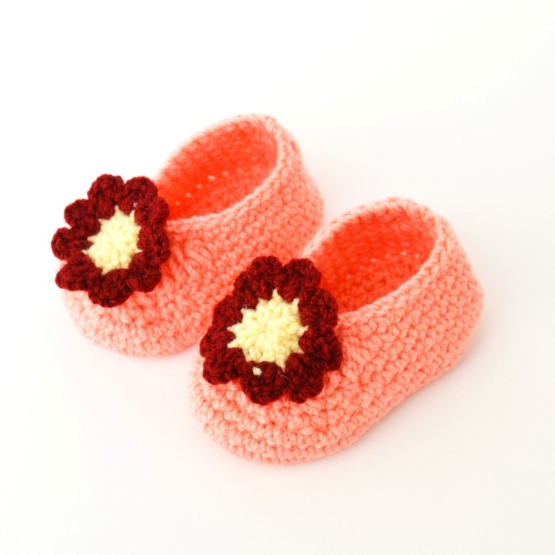 Love Crochet Art Peach Maroon 6 Booties(Toe to Heel Length - 9 cm, Peach)