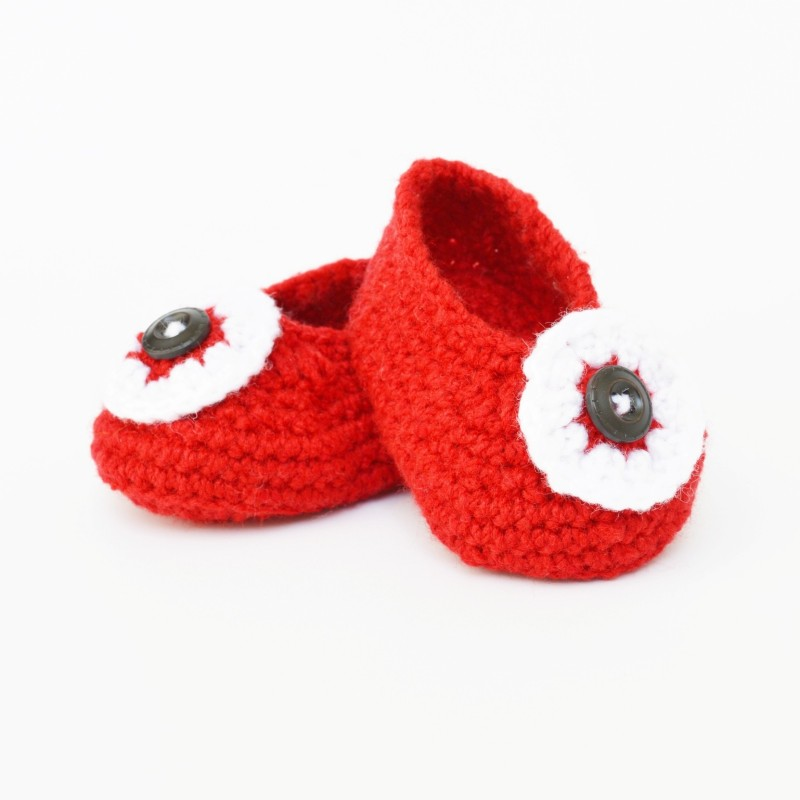 Love Crochet Art Red Eye 12 Booties(Toe to Heel Length - 10 cm, Red)