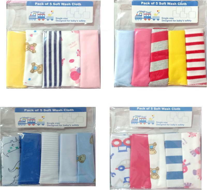 Magic Train 4 Set of Soft Cotton Wash Cloth Napkin Pack of 5 Handkerchief(Pack of 20)