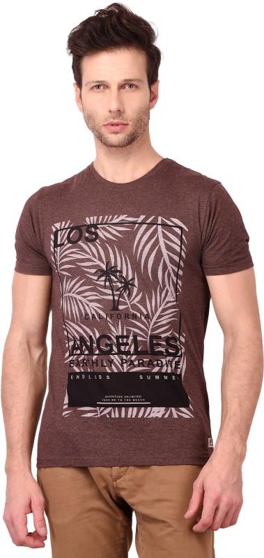 Crownkart Printed Men Round Neck Reversible Brown T-Shirt
