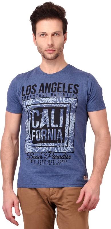 Crownkart Geometric Print Men Round Neck Blue T-Shirt