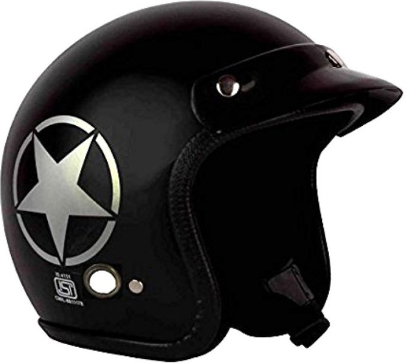 AutoVHPR O2 Matt Black Star Dashing ISI Certified Open Face Helmet Motorbike Helmet(Black)