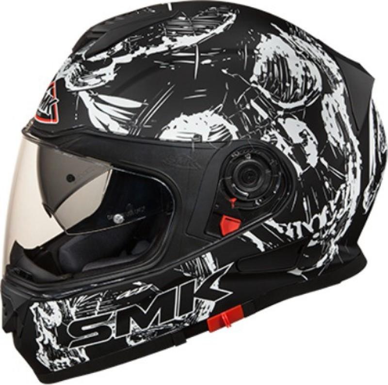 SMK Twister Designer Full Face Helmet Skull Graphic (MA210), Black and White Motorbike Helmet(Black)