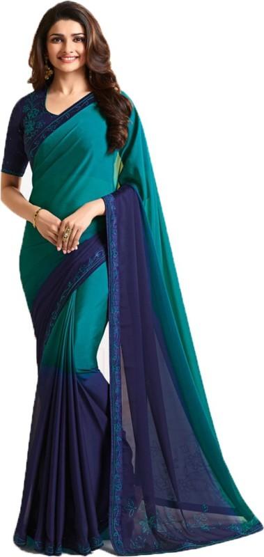 Bombey Velvat Fab Self Design Daily Wear Silk Saree(Blue, Green)