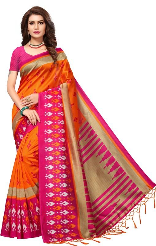 Ratnavati Self Design Daily Wear Art Silk Saree(Orange, Pink)