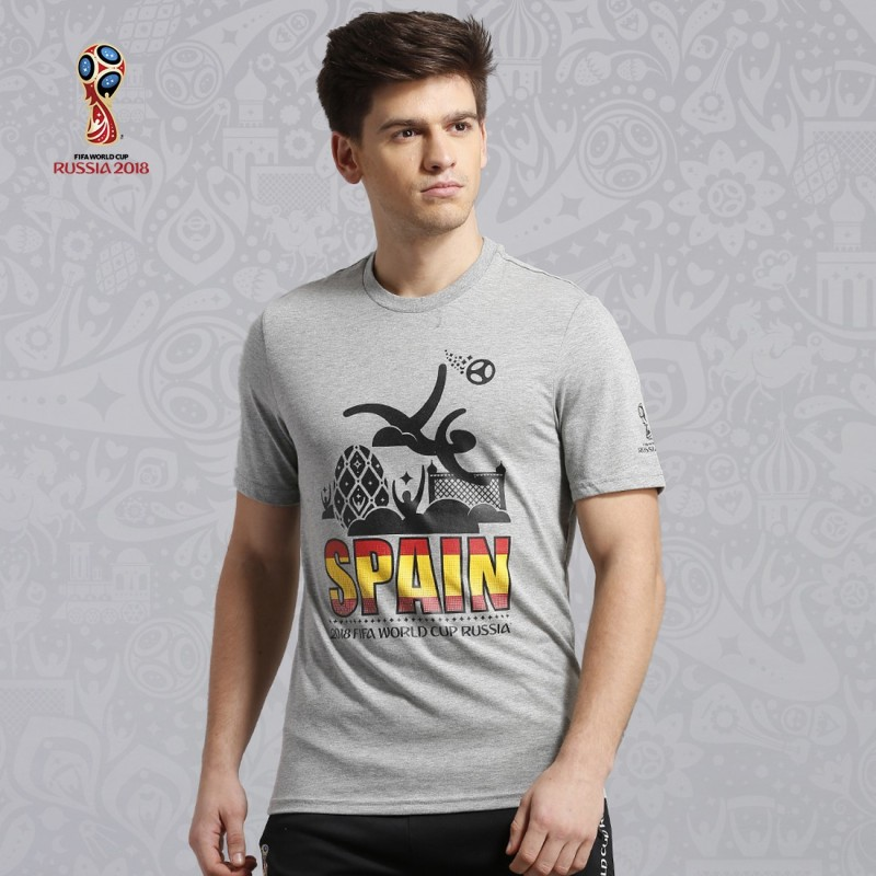 FIFA Spain Printed Men Round Neck Grey T-Shirt