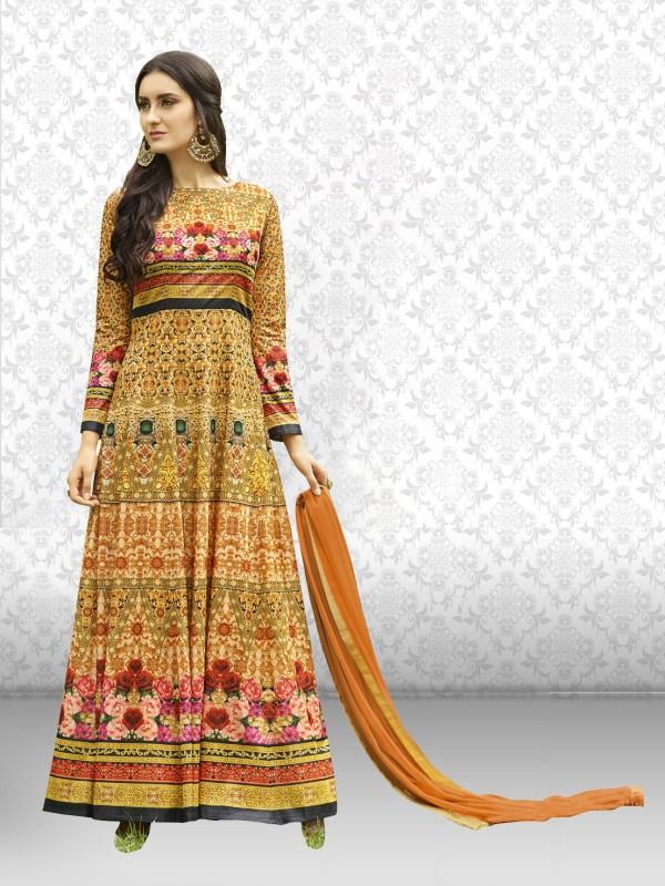 Divastri Poly Silk Printed Semi-stitched Salwar Suit Dupatta Material