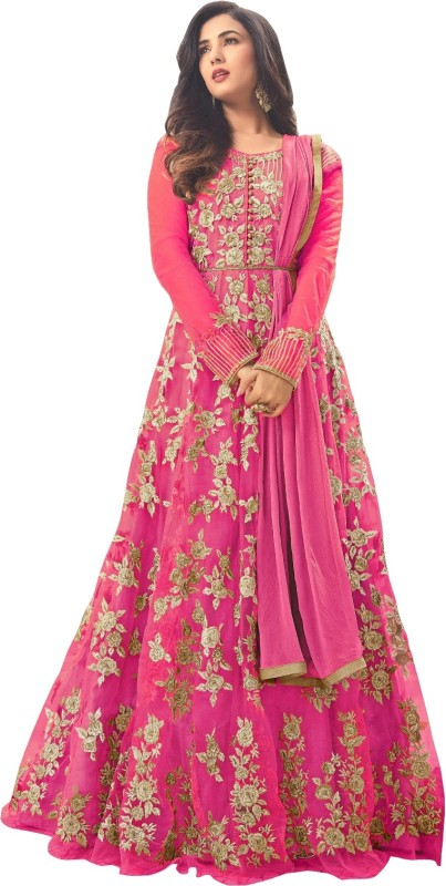 Fashionuma Net Solid, Embroidered Semi-stitched Salwar Suit Dupatta Material