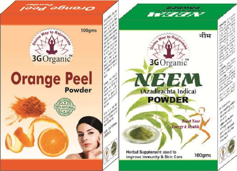 3G Organic Orange Peel Neem Powder 100% Organic Face Pack Combo Kit(200 g)