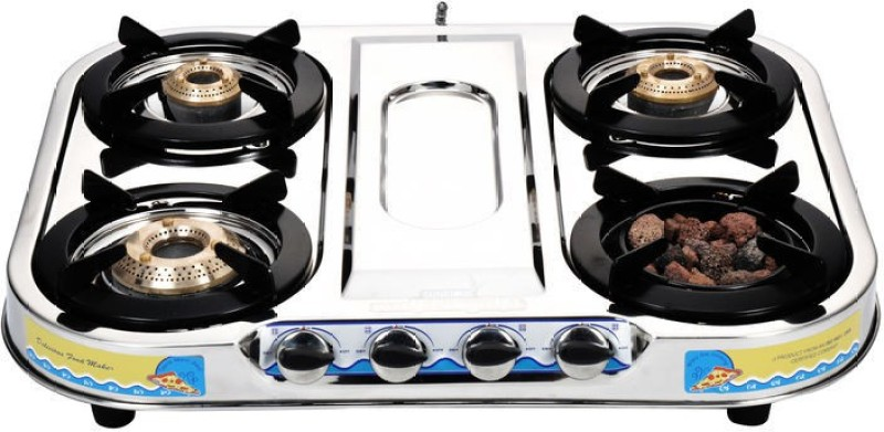 Sunshine Meethi Angeethi Stainless Steel Manual Gas Stove(4 Burners)