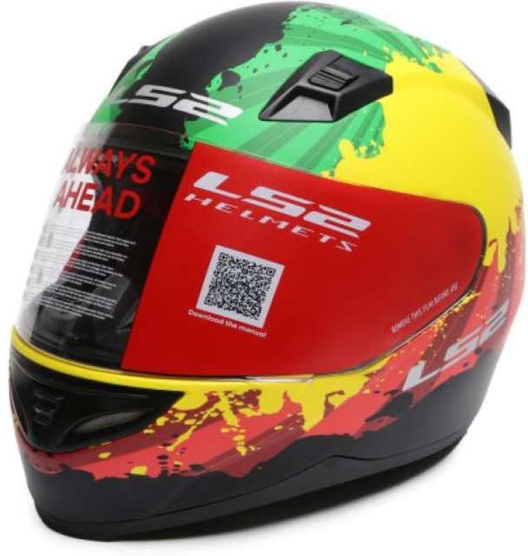 LS2 Ink Green Yellow Red Motorbike Helmet(Green, Yellow, Red)