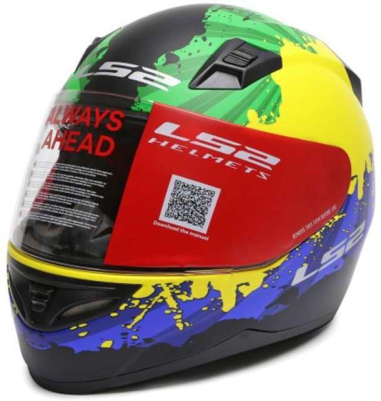 LS2 Ink G.Y.Blue Motorbike Helmet(Multicolor)