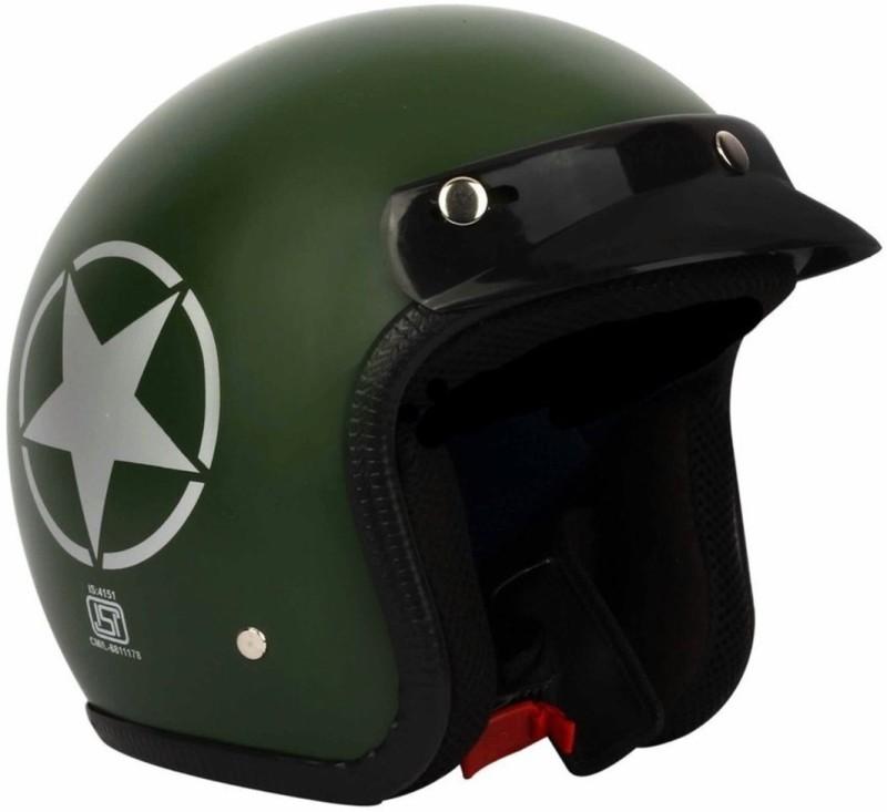 AutoVHPR O2 Military Green Star ISI Certified Dashing Open Face Helmet Motorbike Helmet(Green)