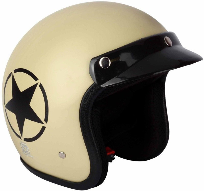 AutoVHPR O2 Khaki Star ISI Certified Dashing Open Face Helmet Motorbike Helmet(Brown)