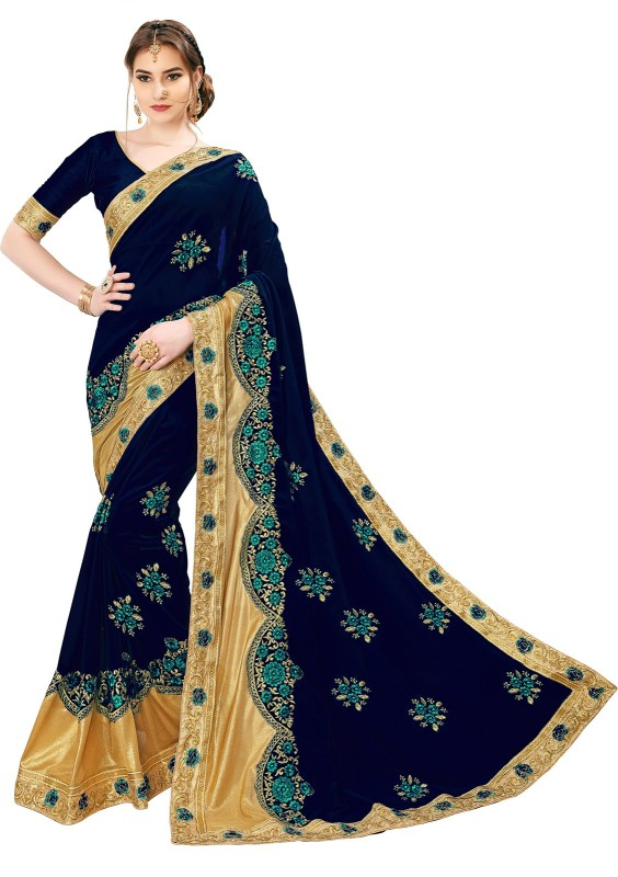 Sariya Embroidered, Embellished Bollywood Georgette, Shimmer Fabric Saree(Blue, Gold)