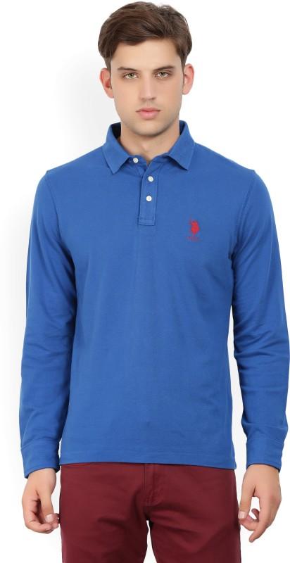 U.S. Polo Assn Woven Men Polo Neck Blue T-Shirt