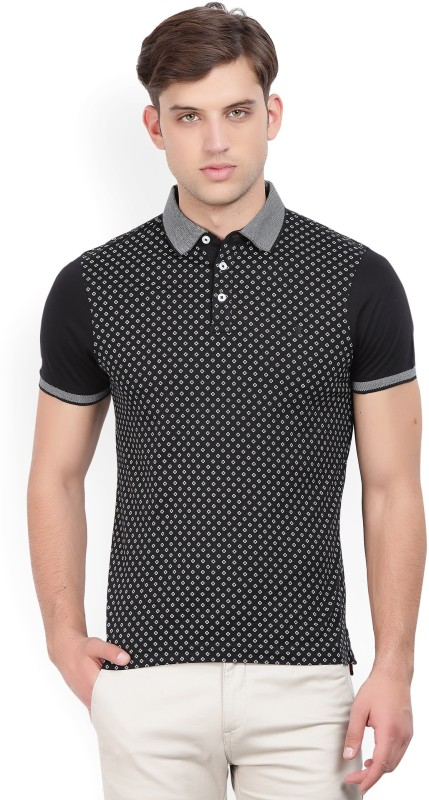 Louis Philippe Printed Men Polo Neck Black, Grey T-Shirt