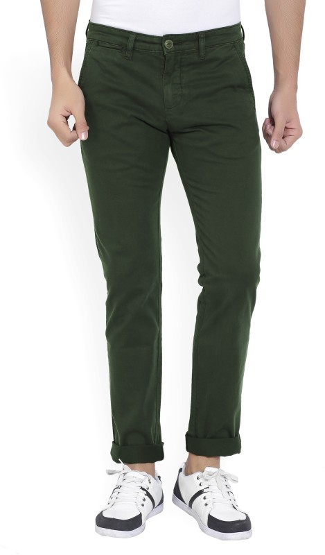 Pepe Jeans Slim Fit Mens Dark Green Trousers