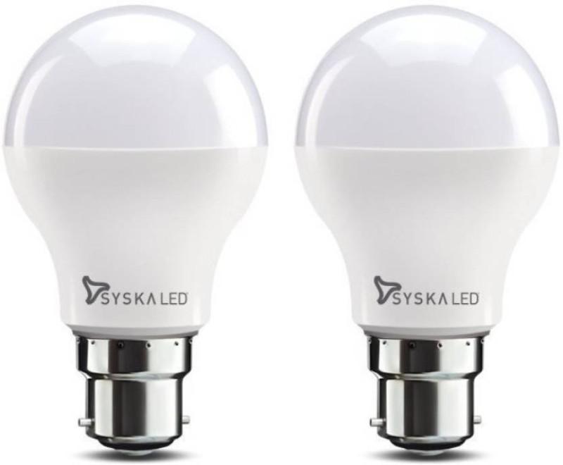 Syska 9 W Round B22 LED Bulb(White, Pack of 2)