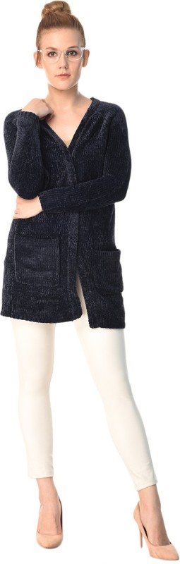 MansiCollections Womens No Closure Solid Cardigan