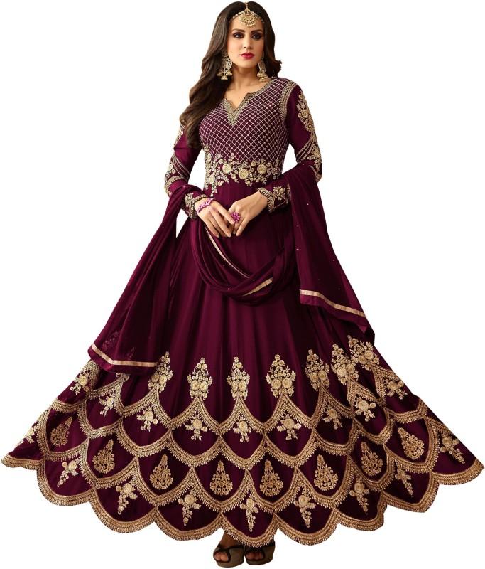 Vaidehi Fashion Georgette Embroidered Semi-stitched Salwar Suit Dupatta Material, Semi-stitched Salwar Suit...