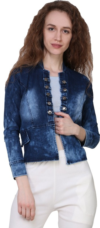 Manash Fashion 3/4th Sleeve Solid Women Denim Jacket
