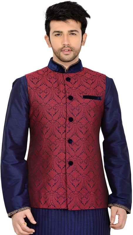 Manyavar Sleeveless Paisley Men Nehru Jacket