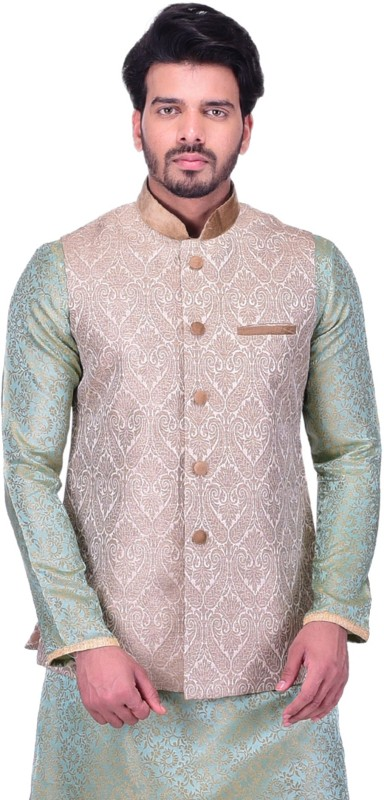Manyavar Sleeveless Embroidered Mens Nehru Jacket