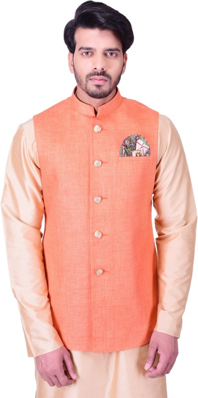 Manyavar Sleeveless Solid Mens Nehru Jacket