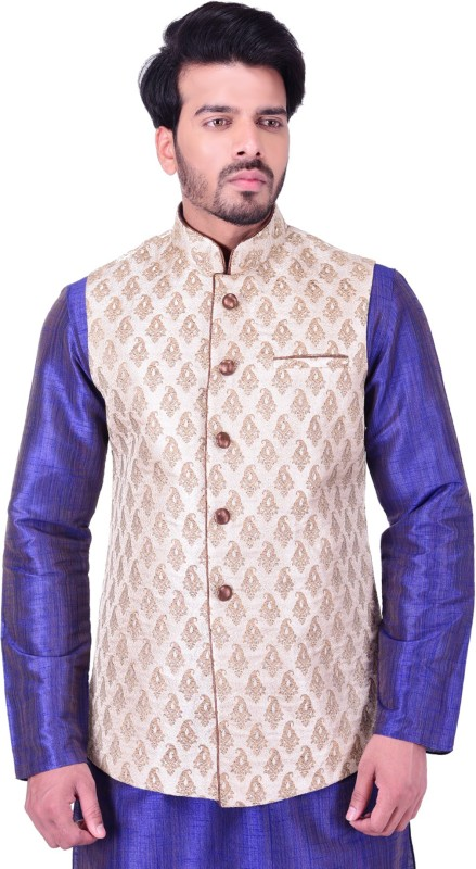 Manyavar Sleeveless Self Design Mens Nehru Jacket