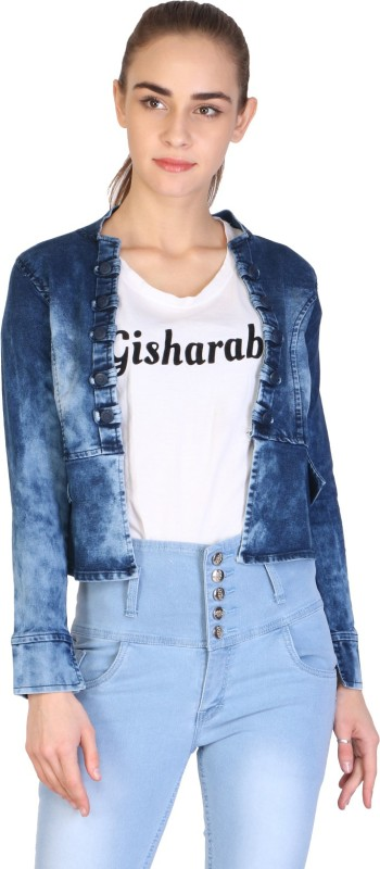 Manash Fashion Full Sleeve Solid Women Denim Jacket