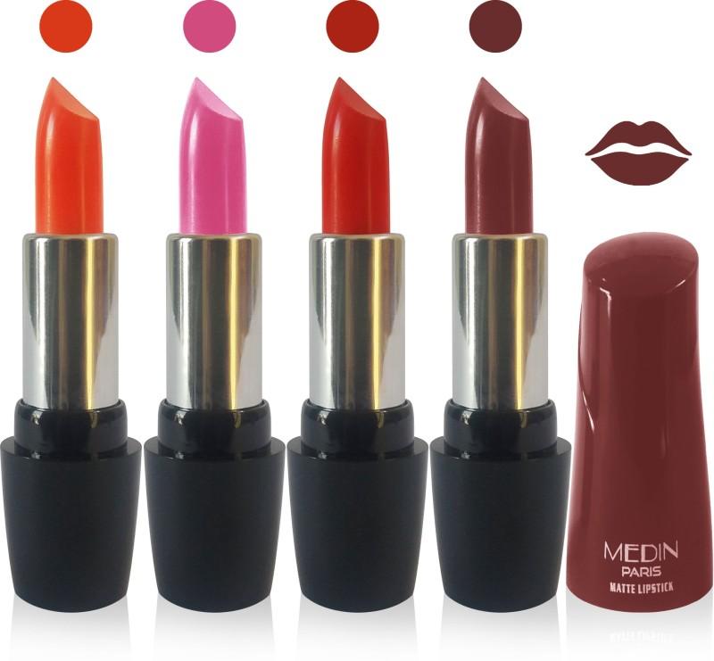 Medin paris ultra hd elegant colors matte lipstick cosmetics makeup 007 serires set of 4 color(brown red pink orange, 20 g)