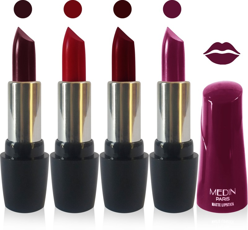 Medin paris ultra hd elegant colors matte lipstick cosmetics makeup 007 serires set of 4 color(hot chocolate maroon d maroon magenta, 20 g)